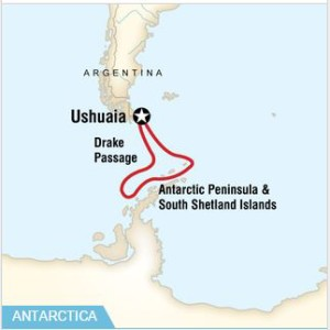 An Antarctica cruise map - G Adventures