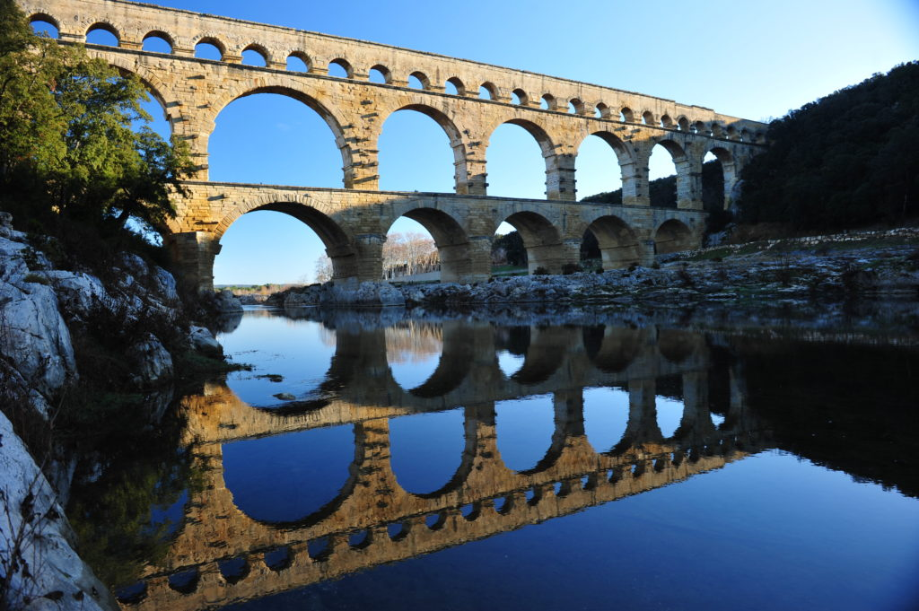 Pont du Gard in Provence, France, one of Europe's lovely honeymoon destinations.