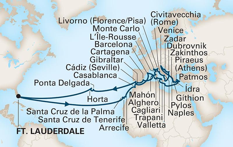 A world cruise itinerary / Holland America Line