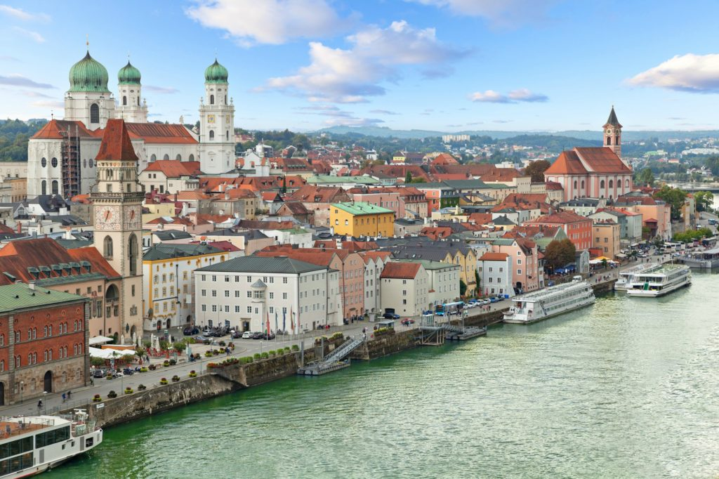 Aerial view of Passau with Danube river, embankment and cathedral, Bavaria, Germany