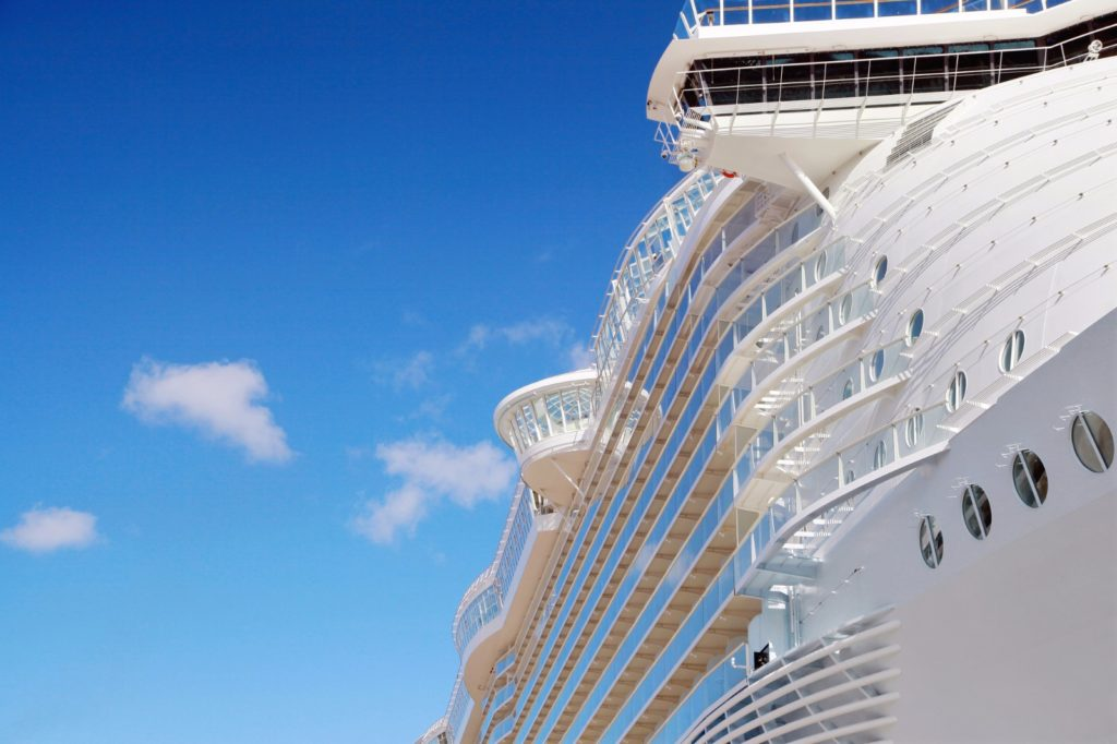 Close up of an ocean cruise ship